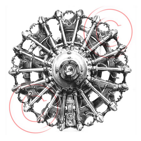 radial engine drawing - from vintage biplane