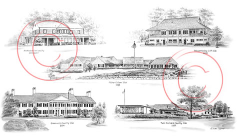 Montage illustration of golf course clubhouses