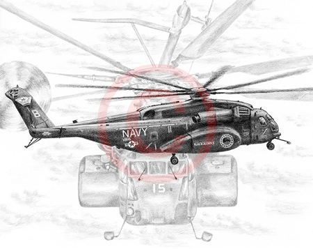 Pencil drawing of Navy Blackhawk helicopter